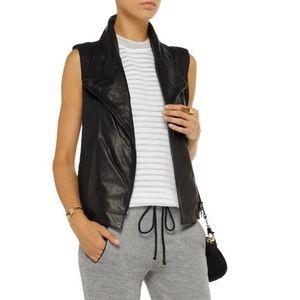 VINCE • Leather And Linen Vest zipper black